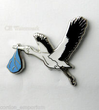 STORK BIRD CARRYING BLUE BOY BABY STORK BABY DELIVERY LAPEL PIN 1 INCH