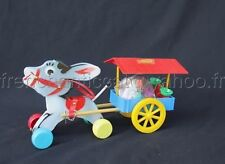 O114 CLAIRBOIS jouet ancien bois ANE CHARETTE FRUIT LEGUME 32 cm années 1960