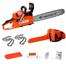 "TIMBERPRO 58cc 16"" Petrol Chainsaw with 2x 16"" Chains. Complete Chain Saw Kit"