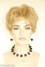 Feather Light Construction Layered Short Blonde Brunette Red Wavy Curly Wigs