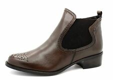 Tamaris Womens UK 6.5 Iga Chestnut Brown Leather Zip Up Ankle Boots 1-25488-23