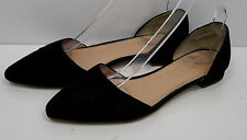 J CREW Black Suede Pointed Toe Cut Out Sides Slip On Flat Shoes US9; UK6.5