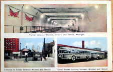 1940 Detroit, Michigan Postcard: Tunnel to Windsor, Ontario & Bus - MI