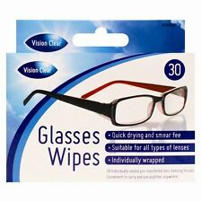30 OPTICAL GLASSES LENS TOUCHSCREEN DISPLAY MONITOR SMEAR FREE CLEANING WIPES UK