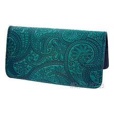 PAISLEY Oberon Design Leather CHECKBOOK HOLDER/Cover in Teal Blue floral CKM53