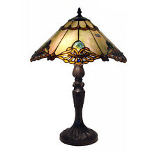 Table Lamp Tiffany Style Off White Brown Stained Glass Shade Bronze Finish