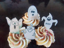 12 PRECUT Edible Halloween Ghosts wafer/rice paper cake/cupcake toppers