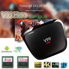 4GB+32GB Smart TV Box Android5.1 V99 Hero RK3368 4K Octa-core WIFI Youtube BT4.0