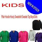 KIDS Plain Hoodie Hoody Sweatshirt Sweater Top Jumper Boys/Girls