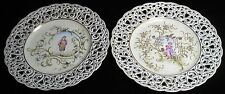 TIELSCH C1900 PAIR OF HAND PAINTED RETICULATED MAN & WOMAN PLATES