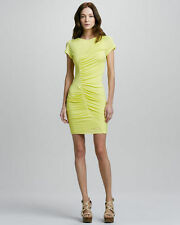 DVF DIANE VON FURSTENBURG Meela Ruched Yellow Dress Silk Blend Sz 8 $275 B20