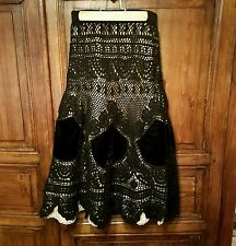 IPSA Anthropologie Skirt size 2 Black crochet velvet Fully lined Maxi Holiday