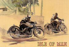Vintage Deco Isle of Man TT Motorcycle (2) A3  Poster Print Art