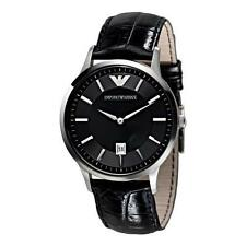 Armani Mens Classic Watch AR2411 Black dial Leather Strap,COA, RRP £159.00