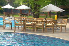 11 PC DINING TEAK STACKING CHAIRS OUTDOOR PATIO FURNITURE POOL X3 GRANADA DECK
