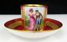 Vintage 1930's Miniature Royal Vienna Cup & Saucer Gold Gilding Lovely Painting!