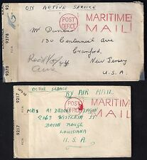 UK GB 1940's TWO POST OFFICE COVER MARITIME MAIL FREE FRANKED BOTH CENSORED