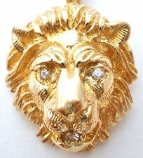 14K Gold Diamond Lion Head Pendant Vintage Necklace Slide 6.4 Grams Cat Figural