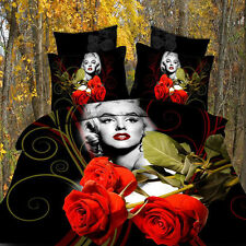 NEW Marilyn Monroe 100% Cotton 3D king Duvet Quilt Cover Bedding Set