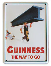 GUINNESS MAN WITH GIRDER Small Vintage Metal Tin Pub Sign