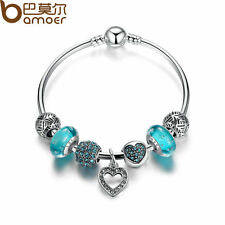 Bamoer European Silver Bangle Bracelet With Blue Beads Charms Women Jewelry 20cm