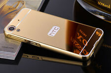 Luxury Ultra-thin Mirror Back Cover+Metal Aluminum Frame Case For HTC Phone S001
