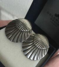 Georg Jensen Danish Sterling Silver Sea Shell Screw Back Earrings  107  Denmark