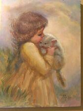 Original Oil Painting By California artist M. Zapp Little Girl Holding Kitten
