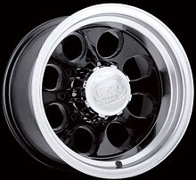 "CPP ION Alloys style 171 Wheels Rims 16x8, 6x5.5"" Black w/ Mach lip & Clearcoat"