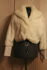 White Baby Phat Faux Fur w/ Leather&Crystals Cuffs Jacket Bolero  Size M