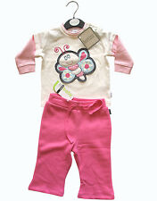 Bonds Baby Girls Pink Track Pants & Bertini Butterfly Top . Size 0 . NEW . NWT