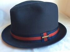 Stetson Water Repellent Fedora Trilby Stingy Brim Medium Made In The Usa M 57cm