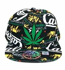 Green Marijuana Leaf Cal Snapback Hat Embroidered Patch California Punk Grunge