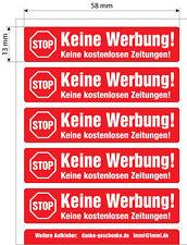 5 Keine Werbung Aufkleber 58x13mm, in Rot, einzeln abziehbar f. Renz Briefkästen