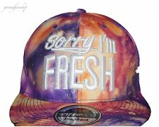 SORRY I'M FRESH PURPLE GALAXY SNAPBACK BASEBALL CAPS, BLING FLAT PEAK FITTED HAT