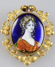 Alte Porzellan Brosche Jugendstil Miniatur Portrait Dame Malerei