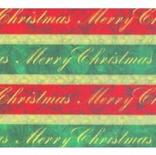 "SCRIPTED STRIPE EMBOSSED FOIL CHRISTMAS GIFT WRAPPING PAPER -Two 26""x14' Rolls"