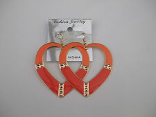 2 Tone Enamel Open Heart Drop Earrings Neon Orange/Deep Orange New
