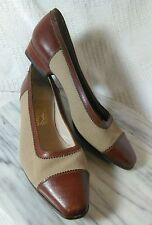 Salvatore Ferragamo Cap Toe Flats 7.5 B 7 1/2 M Leather and Fabric