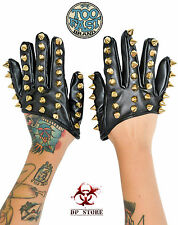 TOO FAST spike Gloves studs biker Tattoo Rockabilly EMO GOTHIC faux leather