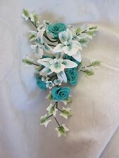 Teal Rose and Orchid Sugar Flower Spray