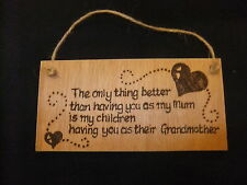 Hand designed Mum / Grandmother wooden plaque - pyrography gift