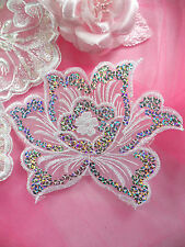 GB66 White Embroidered Flower Silver AB Sequin Applique Patch Motif  6.5""