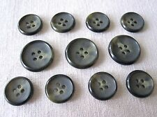 11 New Genuine Horn Sewing Buttons Rochester Gray Suit Coat Jacket Blazer Italy