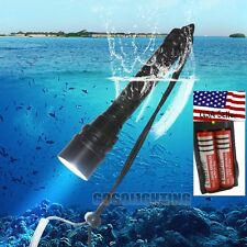 8000 Lm 3x XM-L2 T6 LED 18650 Scuba Diving Flashlight Fishing Torch Lamp+Charger