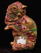 """WINDSTONE EDITIONS """"LEAF CAT"""" SCONCE, FANTASY ANIMAL STATUE"""
