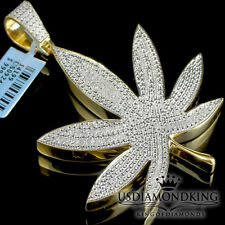 Yellow Gold Plated Genuine Real Diamond Weed Marijuana Leaf Pendant Charm 2.75""