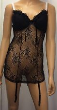 Women's Black babydoll lingerie nightie chemise g-string set 8-10 S