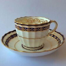 Superb Royal Crown Derby fluted cup & saucer, c.1884 handpainted, exc cond