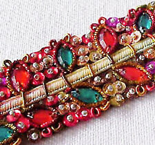 Festive, Hand-Beaded, Ribbon Trim. Red & Green. Lots of Sparkling Gems